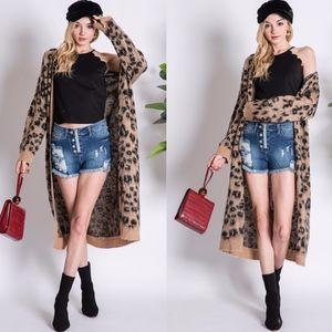 AUSTIN Leopard Print Fuzzy Cardigan